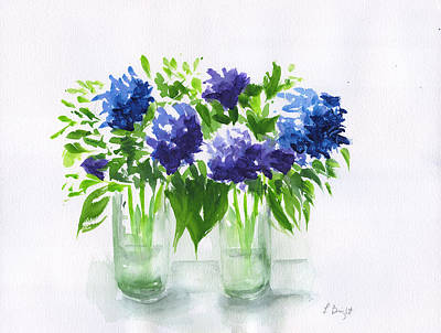 Painting - Hydrangeas At Vics  by Frank Bright