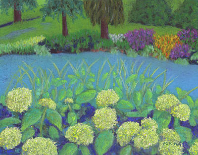 Pastel - Hydrangeas At Willow Pond by Anne Katzeff