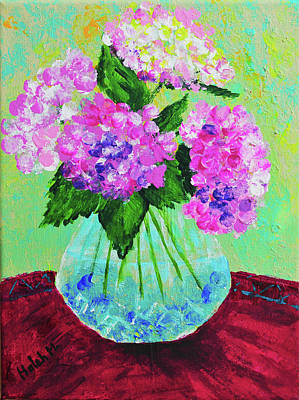 Painting - Hydrangeas From My Garden by Haleh Mahbod