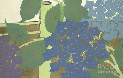 Bamboo Fence Painting - Hydrangeas by Kamisaka Sekka