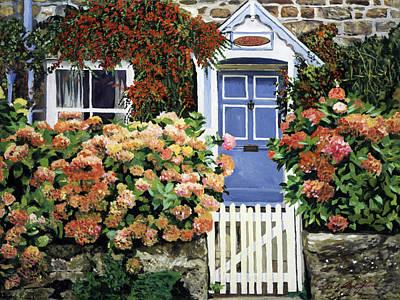 Vines Painting - Hydrangeas Rose Cottage by David Lloyd Glover