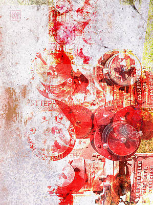 Red Abstract Digital Art - Hydrant by Dan Turner