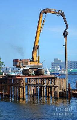 Photograph - Hydraulic Pile Driver In Action by Yali Shi
