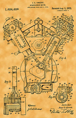 Photograph - Hydrocarbon Motor Patent by Michael Porchik