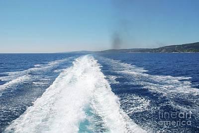Photograph - Hydrofoil Wake Off Paxos by David Fowler