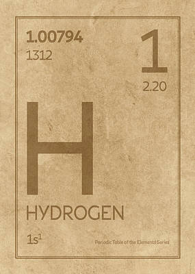 Periodic Table Wall Art - Mixed Media - Hydrogen Element Symbol Periodic Table Series 001 by Design Turnpike
