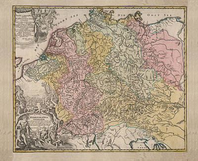 Royalty-Free and Rights-Managed Images - Hydrographia Germania - The Rivers of Germany - Antique Geographical Map - Historic Map by Studio Grafiikka
