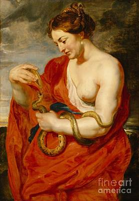 Serpent Painting - Hygeia - Goddess Of Health by Peter Paul Rubens