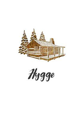 Digital Art - Hygge Design Of A Cosy Cabin By Woodland Doodles by Eleanore Ditchburn