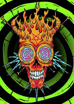 Cartton Digital Art - Hypno Skull by Pharaoh Laboa
