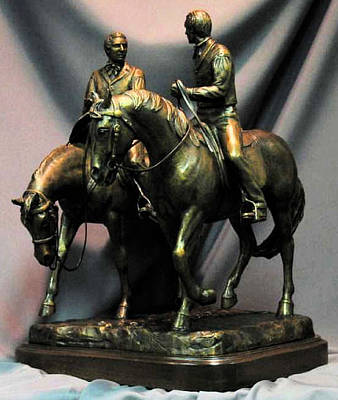 Nauvoo Statue Sculpture - Hyrum And Joseph Smith Jr. Nauvoo Statue Bronze One Fifth Life Size Sculpture by Kim Corpany