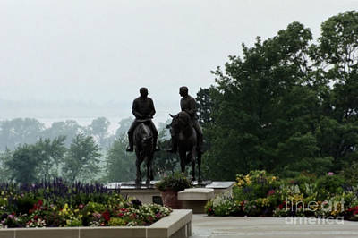 Nauvoo Statue Photograph - Hyrum And Joseph Smith Statue In The Mist From The Mississippi by Kim Corpany
