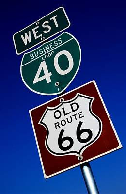 Polaroid Camera - I-40 and Historic Route 66 Sign by Bob Pardue