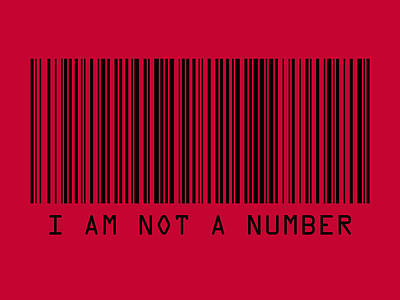 Black Digital Art - I Am Not A Number by Michael Tompsett