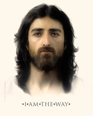 Jesus Face Digital Art - I Am The Way With Quote by Ray Downing