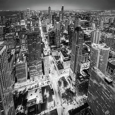 Photograph - I Am Too Color Blind - Black And White - Chicago Skyline by Scott Campbell