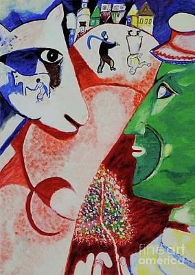 Marc Chagall Painting - I And The Village- Tribute To Chagall by Art by Danielle