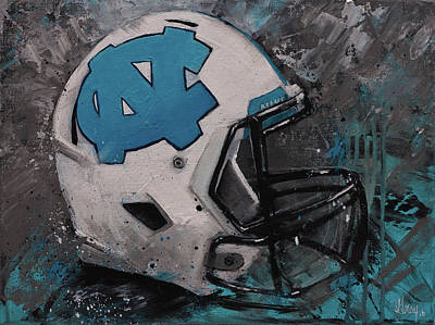 Painting - I Bleed Carolina Blue Tarheel Wall Art Football Helment by Gray Artus