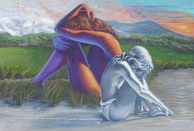 Duality Painting - I Can Hear Her Breathing by JoAnne Castelli-Castor