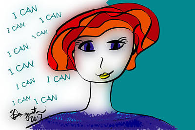 Thinking Of You Drawing - I Can by Sharon Augustin
