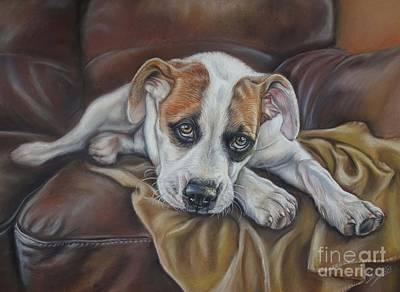 Staffy Painting - Cuddles? by Irisha Golovnina