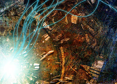 Fantastique Mixed Media - I Dream Of Wires 2.0 by Kenn Brown