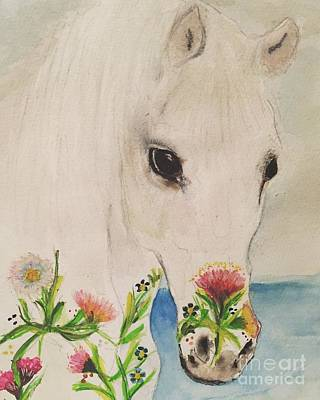 Comic Character Paintings - I Dreamt of a White Horse  by Debra Lampert-Rudman