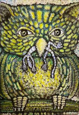 Stipple Owl Painting - I Eat Lizards For A Living by Benjamin Varela