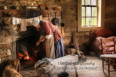 Log Cabin Mixed Media - I Finished Your Laundry by Lori Deiter