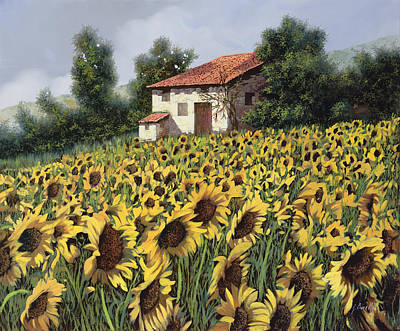 Curated Round Beach Towels - I Girasoli Nel Campo by Guido Borelli