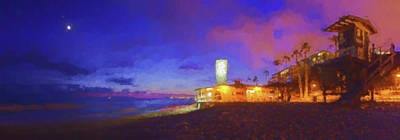 San Clemente Beach Digital Art - I Glow Every Night For You Watercolor by Scott Campbell