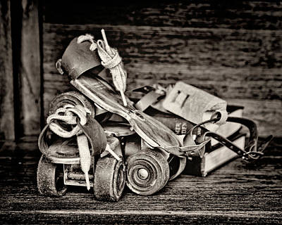 Photograph - I Got A Brand New Pair Of Roller Skates Bw by Heather Applegate