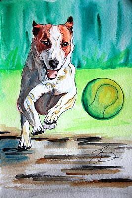 Dog Playing Ball Painting - I Got It I Got It by Tonya Self