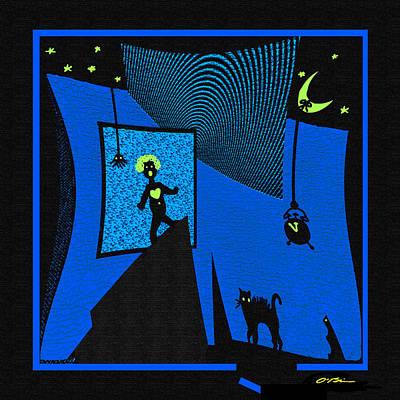 Black Cat Clock Digital Art - I Had A Scary Dream Last Night by Claudia O'Brien