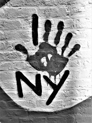 Photograph - I Handprint N Y In B W by Rob Hans
