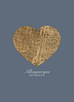 New Mexico Mixed Media - I Heart Albuquerque New Mexico Vintage City Street Map Love Americana Series No 041 by Design Turnpike