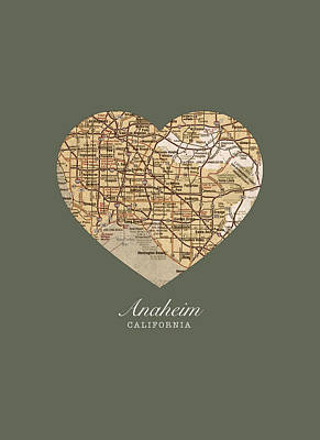 I Heart Anaheim California Vintage City Street Map Americana Series No 021 Art Print