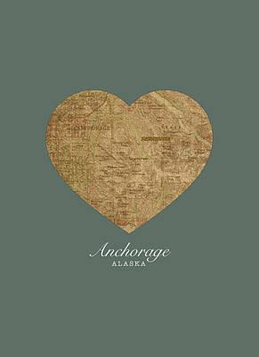 Alaska Mixed Media - I Heart Anchorage Alaska Street Map Love Americana Series No 069 by Design Turnpike