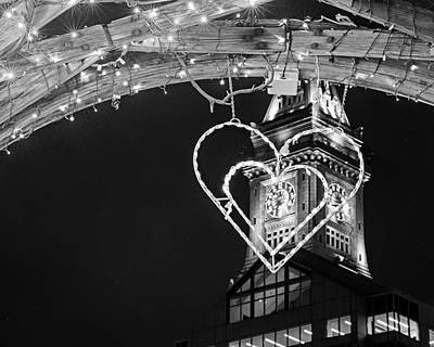 Photograph - I Heart Boston Ma Christopher Columbus Park Trellis Lit Up For Valentine's Day Black And White by Toby McGuire