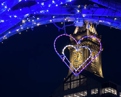 Photograph - I Heart Boston Ma Christopher Columbus Park Trellis Lit Up For Valentine's Day by Toby McGuire