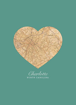 I Heart Charlotte North Carolina Vintage City Street Map Americana Series No 008 Art Print