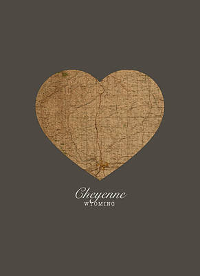 I Heart Cheyenne Wyoming Vintage City Street Map Americana Series No 024 Art Print