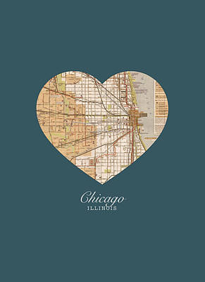 I Heart Chicago Illinois Vintage City Street Map Americana Series No 002 Art Print