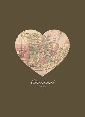 I Heart Cincinnati Ohio Vintage City Street Map Americana Series No 005 Art Print
