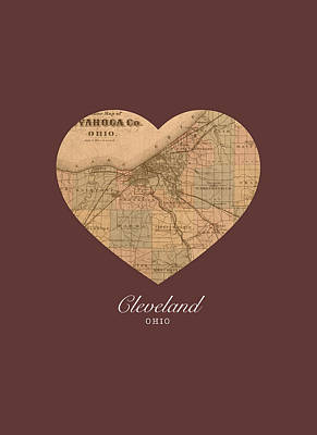 I Heart Cleveland Ohio Vintage City Street Map Americana Series No 004 Art Print