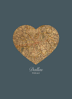 I Heart Dallas Texas Vintage City Street Map Love Americana Series No 030 Art Print