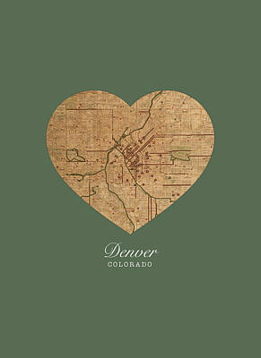 I Heart Denver Colorado Vintage City Street Map Americana Series No 025 Art Print