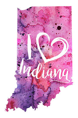 I Heart Indiana Watercolor Map - With Calligraphic Hand Lettering Art Print
