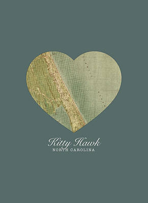 Hawk Mixed Media - I Heart Kitty Hawk North Carolina Street Map Love Americana Series No 073 by Design Turnpike