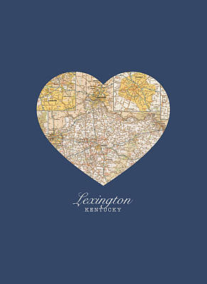 Kentucky Mixed Media - I Heart Lexington Kentucky Vintage City Street Map Americana Series No 006 by Design Turnpike